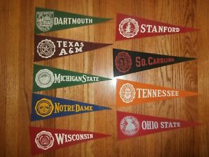 Lot  of 9 Vintage Felt Mini College University Pennants