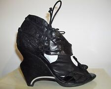 All Saints Beta Wedge Heels Size 6 UK 39 EU Black Leather Peep Toe Shoes Rare
