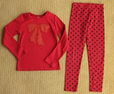 Gymboree Wild For Horses Red Glitter Sequin Bow Tee Top Shirt 9/Leggings Pant 10