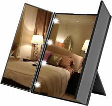 Foldable Make up Mirrors with LED Lights Portable Travel Tri-Fold Mini Size UK