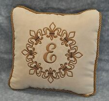 Fleur de Lis Embroidered & Personalized Pillow made w/ Faux Cream Suede Fabric