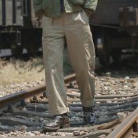 Bronson Repro 1942 Khaki Chino WW2 US Army Men's Trousers Military Casual Pants