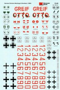 Microscale Decals 1/35 German Armour Division Markings & Numbers # SS13009