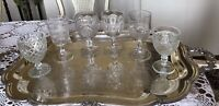 Mid Century - Vintage Water/ Wine  Pedestal Goblets Set Of 6 - CLEAR GLASS