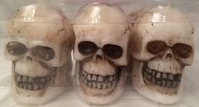 """Skulls 6 - 3"""" Halloween Party Candles Fragrance Free"""