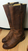Justin Tall Riding Boots Womens 7.5 Brown Leather Knee High Western Side Zip  nn