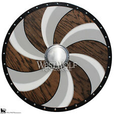 Viking Spiral Shield - Solid Oak Wood -- sca/larp/norse/armor/Icelandic/Norway