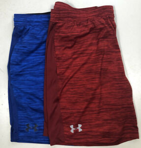 Lot of 2 Under Amour heat gear mens athletic shorts XXL red, blue, elastic waist