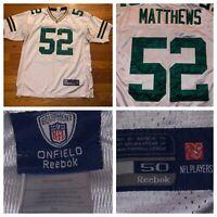 Reebok On Field Clay Matthews Men's White Green Bay Packers Sewn Jersey Size 50