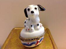 "VTG! Porcelain Small Jewelry/Trinket Box ""Dalmatian Puppy on the box"" ~2.5""x 2"""