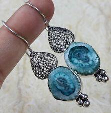 "Plated Earrings of 2"" St-13169 Blue Soler Druzy 925 Silver"