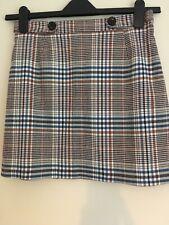 Bnwt Ladies Orange Cream Blue Winter Mini Skirt Size 10 Petite Miss Selfridge