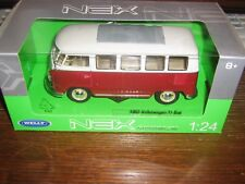 BY WELLY DIECAST - 1963 Volkswagen  T1 BUS - IN RED and white - 1:24 Scale