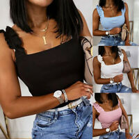 ❤️ Womens Ruffled Straps Vest Tank Tops Ladies Summer Casual Crop Top Tee Blouse