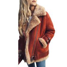 Fashion Womens Fleece Lined Biker Aviator Jacket Coat Winter Warm Lapel Outwear