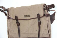 New Ralph Lauren Polo Canvas and Leather  Khaki Messanger Bag
