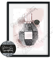 Abstract Fashion Wall Art rose gold pink Flowerbomb illustration perfume print