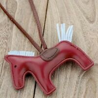 Wine Red Leather Horse Rodeo & Scarf Keychain Bag Charm Designer