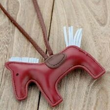 Wine red Leather Horse Rodeo Keychain Bag Charm Cute Gifts Designer