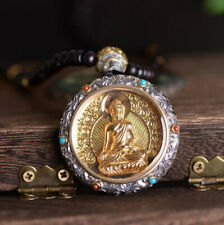 Buddhist Sakyamuni Buddha with Necklace F05 Anhänger Silber 925 Tibetan Carved
