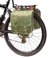 1980s Ex-Army Showerproof Canvas Pannier Bags Leather Straps green bike vintage