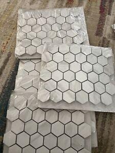 Kolasus White Hexagon 12 in. x 12 in. x 10mm Matte Porcelain Mesh-Mounted Tile