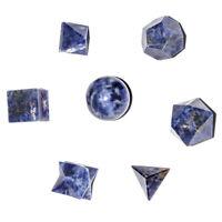 Sodalite 7 Pcs Platonic Sacred Stones Geometric Set Platonic Solid Reiki Healing