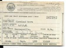 1947 West Virginia Motor Vehicle Driver's License #167382 Cleveland Grove b1888