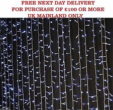 3 x 3m LED CURTAIN Cool White Fairy Star Lights Party Wedding Decoration UK