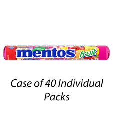 MENTOS FRUIT CHEWY DRAGEES 38g x 40 INDIVIDUAL PACKETS CHEWS WHOLESALE 7714