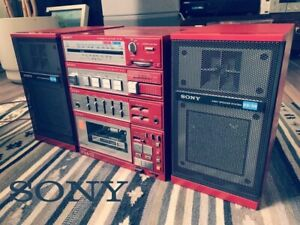 Sony FH-3 Vintage Boombox Component System RARE RED