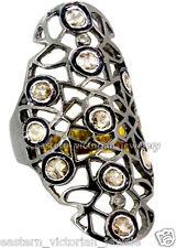 Cut Diamond Silver Wedding Ring Jewelry Artdeco Estate 1.30Cts Real Rose Antique
