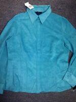 Allison Morgan Size Medium $59 Retail Tag New Blue Button Down Blouse Polyester