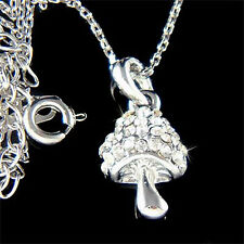 w Swarovski Crystal Cute Magic MUSHROOM Pendant girls Pendant Chain Necklace NEW
