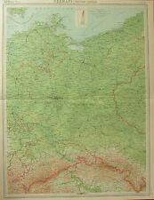 1922 LARGE ANTIQUE MAP ~ GERMANY EASTERN SECTION ~ BERLIN MECKLENBURG DRESDEN