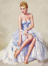 1940s Pin-Up Girl Caught On a Limb Picture Poster Print Art Pin Up