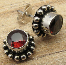 Unseen GARNET Oxidized OLD STYLE Stud Earrings ! Silver Plated Over Solid Copper