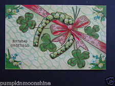 Vintage Unused Birthday Greeting Post card Lucky Irish Horseshoe & Green Clover