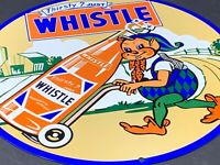 VINTAGE THIRSTY JUST WHISTLE ADVERTISING 12 PORCELAIN METAL ORANGE SODA POP SIGN