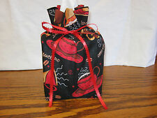 Cups & Saucers red brown orange Cotton Fabric Handmade sq Tissue Box Cover(Only)