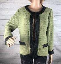 Bandolino Cardigan Sweater Medium Olive Green Black Lace Trim Warm Winter Knit