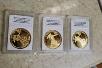1933 Saint Gaudens LOT OF 3 $20 Proof Gold Coin Copy Double Eagle 24K Gold Plate