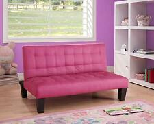Convertible Simple Microfiber Upholstered Pink Ariana Junior Futon Sofa Sleeper