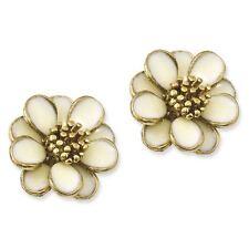 Ladies Gold Tone Cream Enamel Flower Post Earrings 1928 Boutique