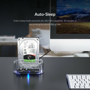 """ORICO USB 3.1 to SATA Transparent External Hard Drive Enclosure For 3.5"""" HDD SSD"""