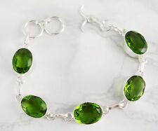Peridot Silver Plated Bracelet - 18.5 cm adjustable - Healing Crystal Gemstones