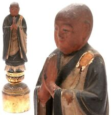 Antique Vintage Portable Shrine Zushi Buddhist Monk Polychrome Altar Figure Old