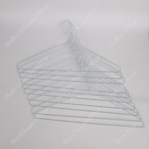 100 Strong Hangers White Metal Wire Clothes Coat Trouser Bar 40cm T Shirt