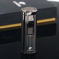 COHIBA Black Metal 3 Torch Jet Flame Butane Gas Cigarette Cigar Lighter Punch