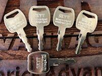 5 keys fits SKYTRAK 8035807 ign; APK75 5119S Case,Deutz, NewHolland, Doosan, Doo